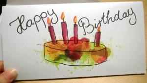 Geburtstagskarte Kuchen Version gelbgrün