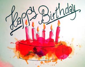 Geburtstagskarte Kuchen Version orangerot