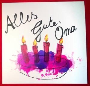 Geburtstagskarte Kuchen Version violett
