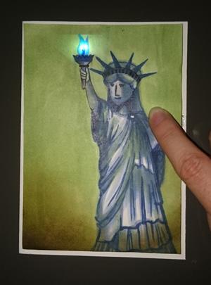 Freiheitsstatue LED Geburtstagskarte leuchtet